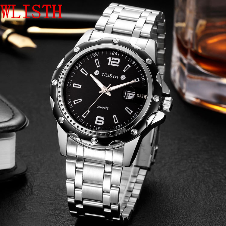 2017 New Hot Sale Brand WLISTH Fashion Watch Men gifts Luminous Waterproof Watch and box High Quality Stainless Steel Wristwatch