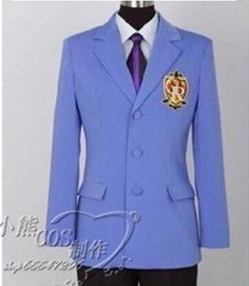 Ouran High School Host Club Cosplay Costume Japanese School Uniform Coat+Shirt+Tie+Pants+Badge