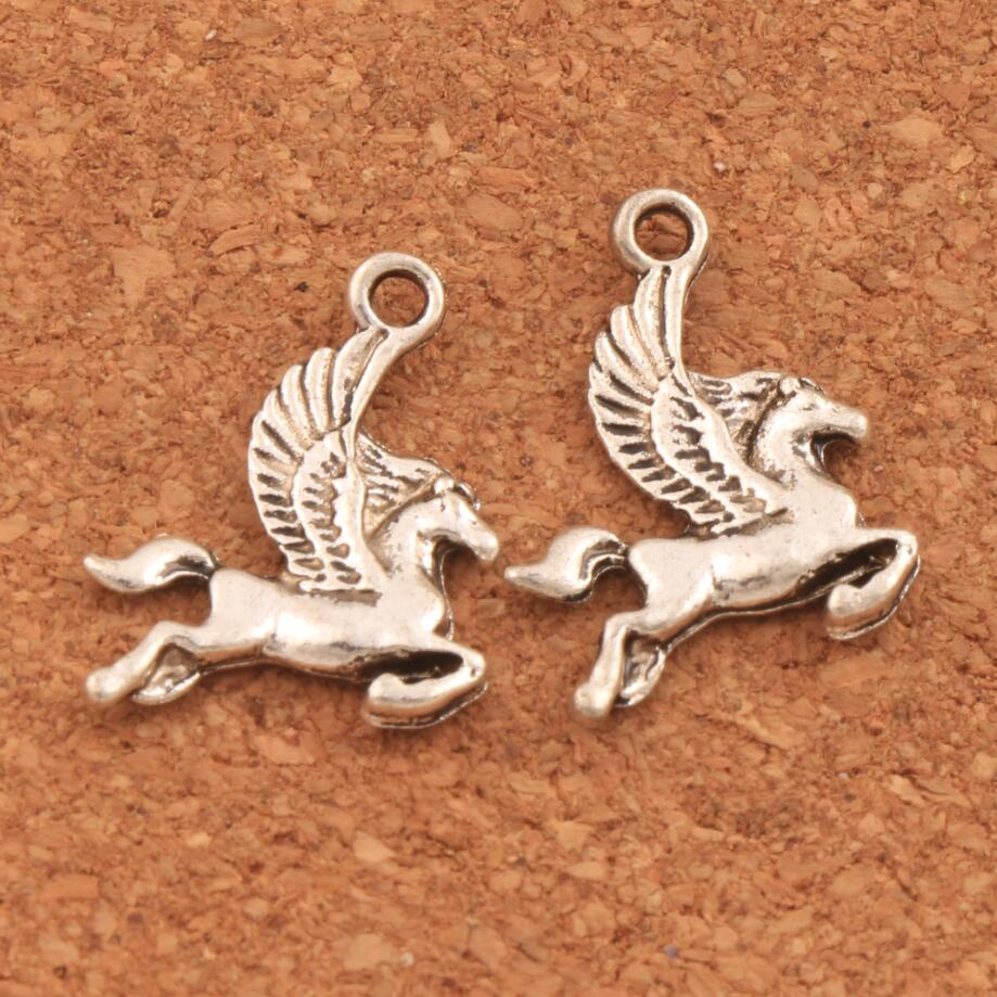 Flying Horse Pegasus Spacer Charm Beads 15.5x20mm 48PCS Antique Silver Pendants Alloy Handmade Jewelry DIY L172 LZsilver