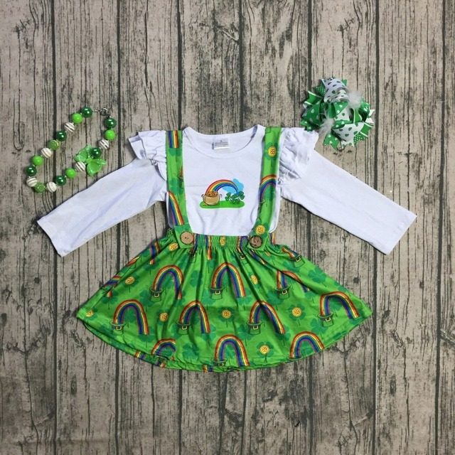 new arrival St.Patrick day girls 2 pieces top with suspender skirts sets  baby girls rainbow Shamrock clothing with accessories 267186f3f615