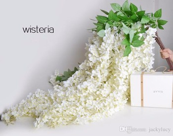 White Artificial Silk Hydrangea Flower Wisteria Garland Hanging Ornament For Garden Home Wedding Decoration Supplies 165 cm/pcs