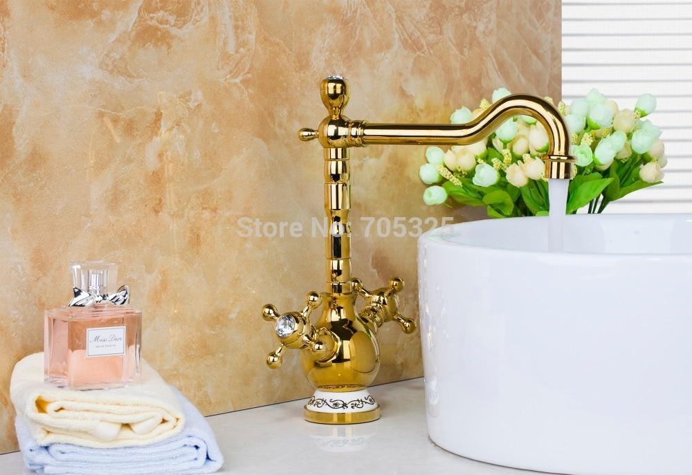 9835 Golden Solid Brass Kitchen Sink Faucet Spray Swivel Spout Bathroom