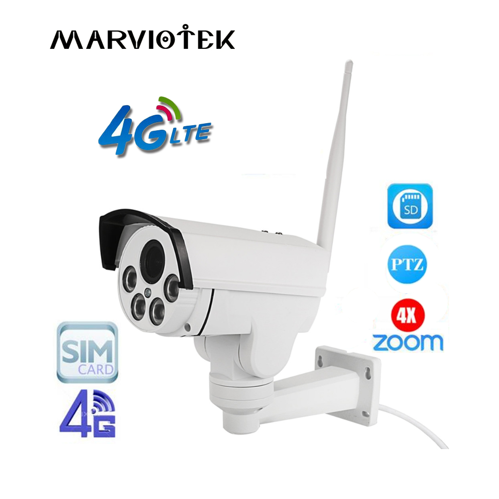 PTZ 1080 p HD Bullet Caméra Sans Fil 960 p 3g 4g Carte SIM Caméra IP Outdoo IR 50 m 4 4xzoom Pan Tilt Surveillance Mini Caméra Extérieure