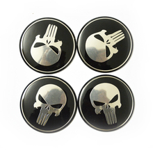 4 x Punisher 60mm Car Steering Wheel Center Hub Cap Emblem Badge Decal Symbol Sticker For Honda VW Audi BMW Dodge Ford