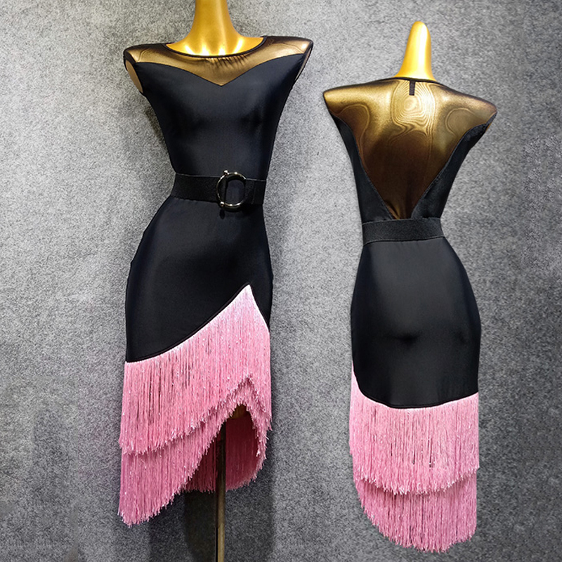 2019 New Latin Dress Women Sexy Black Gauze Pink Tassels Fringe Dress Tango Dress Flamengo Adult Black Latin Dance Dress VDB507