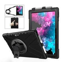 Case voor Microsoft Oppervlak Pro 6 Pro 5 PRO 4 tablet Kids Shockproof Cover 360 Rotating Kickstand hard & Hand band + Neck Strap