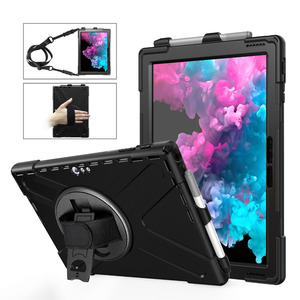 Image 1 - Fall für Microsoft Oberfläche Pro 6 Pro 5 PRO 4 tablet Kinder Stoßfest Abdeckung 360 Rotierenden Ständer hard & Hand strap + Neck Strap