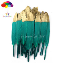 Duck Feather Green Dyed Gold Head 100% Natural 10-100pcs 6-8inch/15-20cm Diy Carnival Costume Mask Headdress Crafts