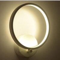 מודר אלומיניום עגול Led קיר אור אורות חדר שינה הובילה קיר אקריליק ברק מנורת קיר מתקן תאורת קיר מסדרון מרפסת פשוטה