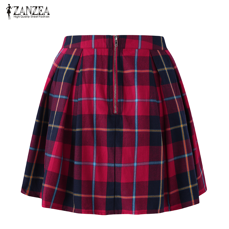 Spring 2018 Women Skirts Red Cotton Plaid A-Line Skirt Summer High Waist Vintage Skirts Female Casual Retro Mini Skirt
