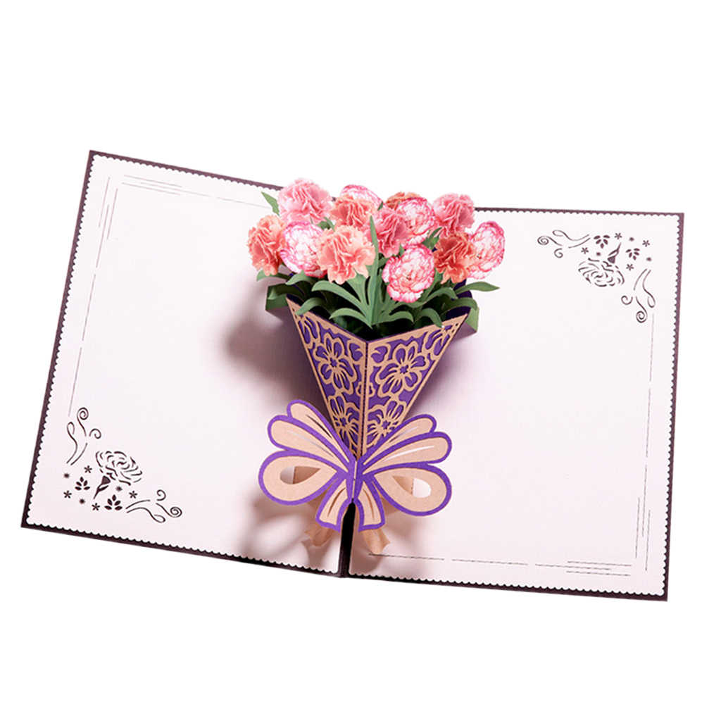 3D Pop Up Mothers Day Flowers Greeting Card with Carnation Bouquet Wedding Anniversary Birthday Gifts Card for Wife Girls