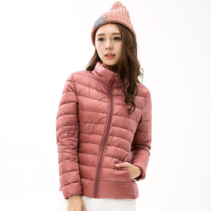 2018 Women 90% White Duck Down Jackets Spring Autumn Ultra Light Stand Collar Down Coats Light Thin Plus Size Female Coat YP0901