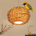 Moderna de alta qualidade mão tecida vime led luzes pingente, criativo pássaro ninho pendurado lâmpadas restaurante quinta luminária deco