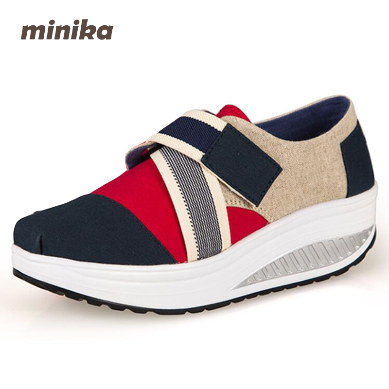 Minika women Breathable Swing wedges Woman Canvas Fitness Shoes Casual Lose Weight Platform Outdoors Shoes 7e04 phyanic 2017 gladiator sandals gold silver shoes woman summer platform wedges glitters creepers casual women shoes phy3323