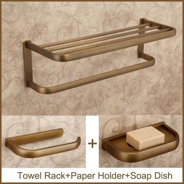 Antique Copper Bathroom Set Include Towel Rack Paper Holder Soap Dish Bathroom Fixture