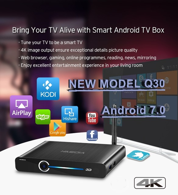 2017 Mais Recente Hisilicon HiMedia Q30 Hi3798MV200 Android 7.1 Kodi 17.1 2 GB DDR 8 GB EMMC Android Caixa Smart TV