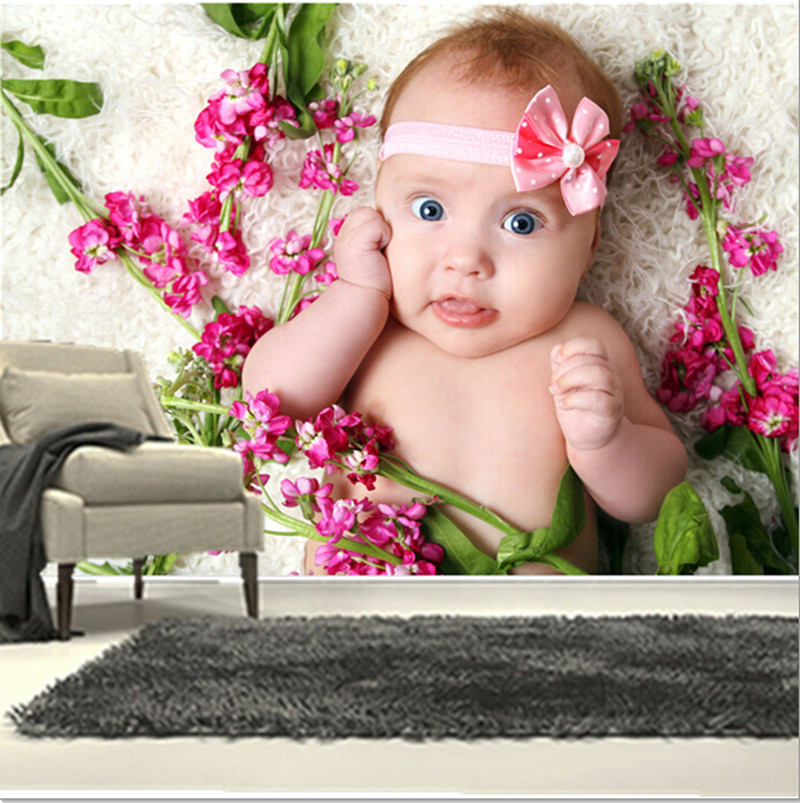 Custom 3D murals, Surrounded by flowers, the lovely baby papel de parede, living room sofa TV wall bedroom background wall paper the custom 3d murals the new york times center building street black and white living room sofa tv wall bedroom wall paper