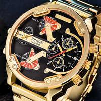 Relojes de gran tamaño XINEW para hombre, reloj de cuarzo de lujo de doble hora, reloj de pulsera Original de Marca, reloj Masculino Ouro Luxo Marca