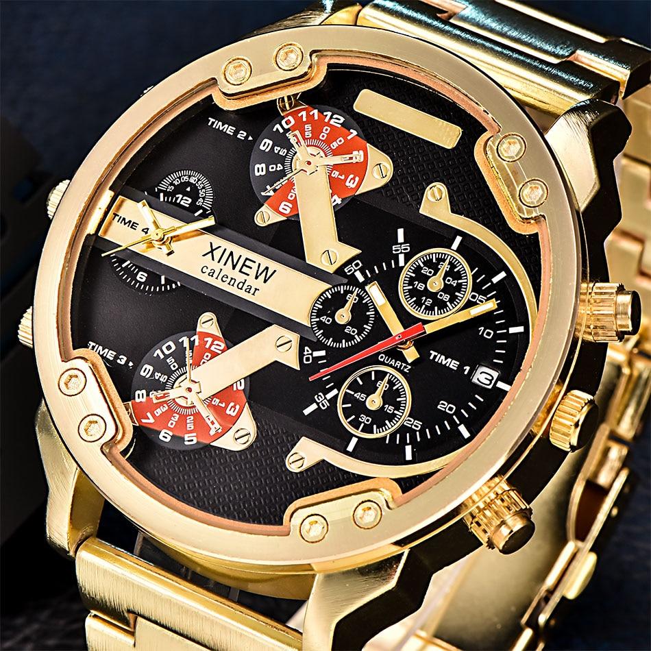XINEW Oversized Relógios De Luxo Grande Cara Dos Homens Dual Time Relógio De Quartzo Marca Original Relógio de Pulso de Luxo Marca Relogio masculino Ouro