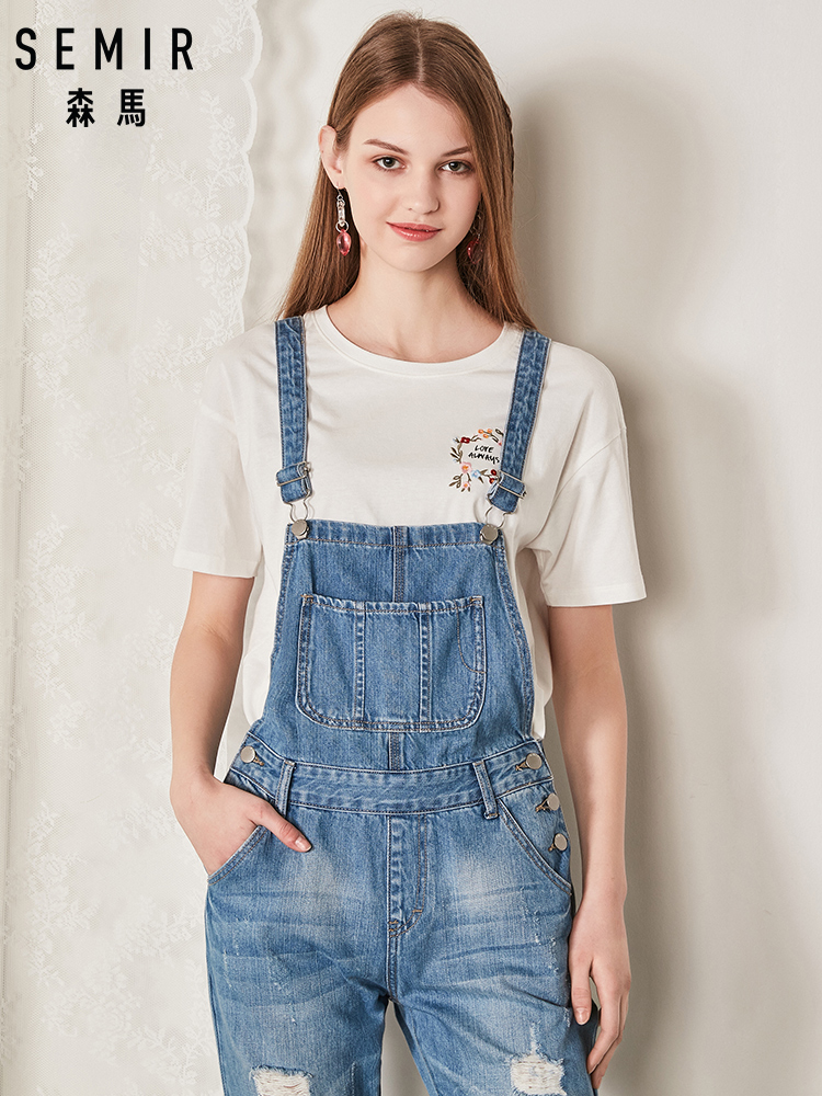 SEMIR Fashion Women Denim Jumpsuit Ladies Summer Fashion Loose   Jeans   Rompers Female Casual Plus Size Overall Playsuit With Pocke