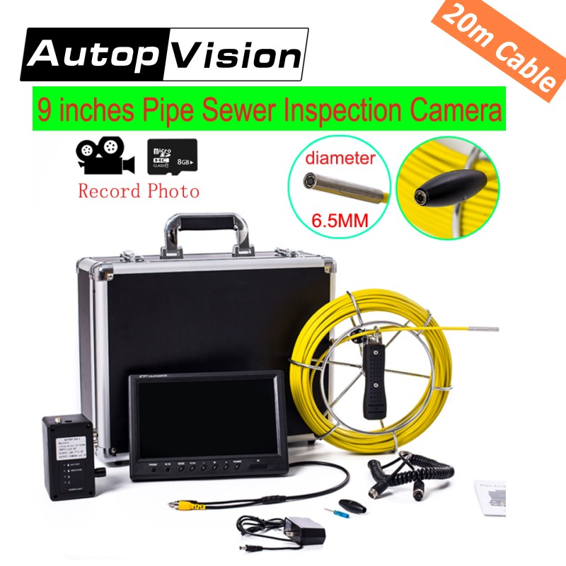 free shipping 20M Pipe Drain Sewer Inspection Camera System & Wall endoscope 9 LCD DVR Function underwater Snake Video Camera