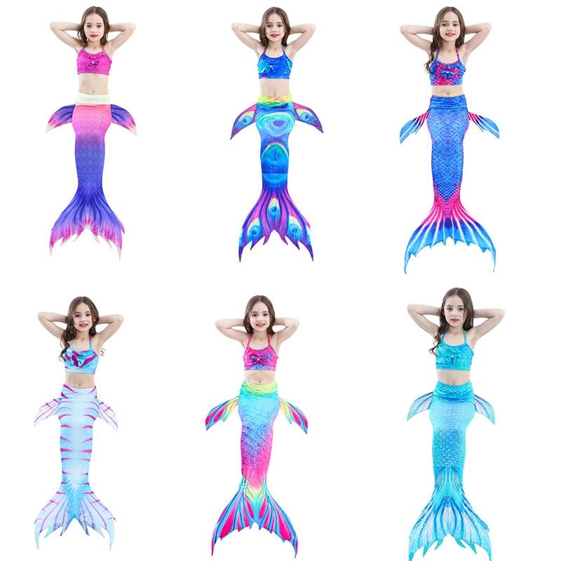 2019 3pcs Kids Mermaid Tail No Monofin Swimmable Suit Bikini Girls Swimming Dress For Children Swimsuit