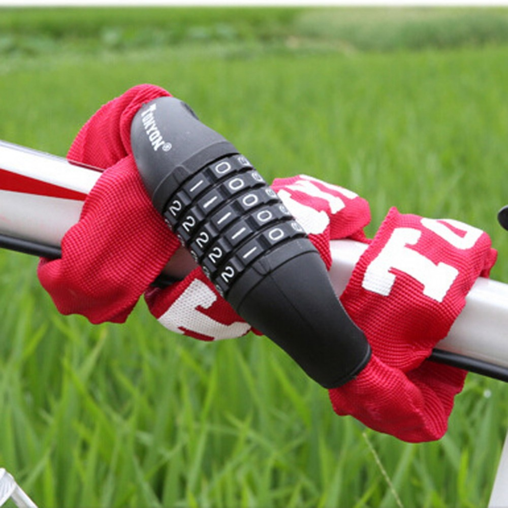 Bicycle lock 5 Digit Password Security Anti-Theft Combination Password Chain Lock for Bike Motorcycle <font><b>Sliding</b></font> Glass Door 2Colors