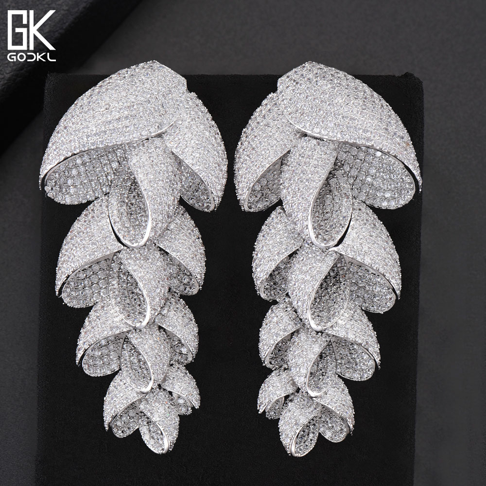 GODKI 73mm Trendy Luxury Feather Leaf Nigerian Long Dangle Earrings For Women Wedding Zircon Crystal Dubai Silver Bridal Earring pair of trendy rhinestone oval leaf earrings for women page 7