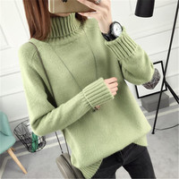 Autumn And New Pattern Easy Sleeve Head Sweater Woman Autumn And Winter Fund Long Knitting Unlined