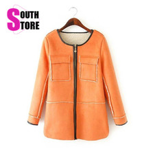 2017 New Fashion Faux Suede Fabric Long Women Coat With Lamb Wool Lining Solid Full Sleeve O Neck Zipper Autumn Winter Jacket