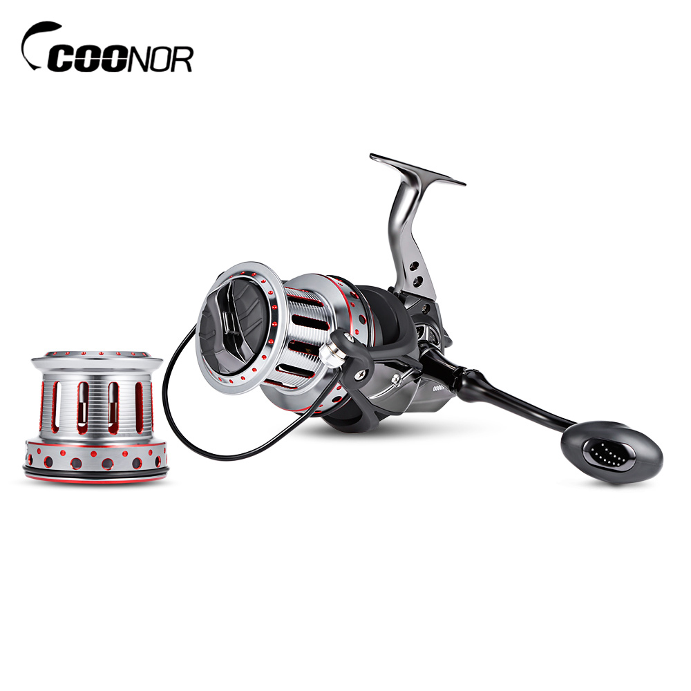 COONOR 10000 + 9000 11 + 1BB Big Metal Fishing Spinning Reel with Double Wire Cup molinete fddl fishing reel 8000 9000 full metal wire cup big long shot sea salt water 5 2 1 spinning reel carretilha pesca