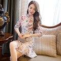 Alta calidad cheongsam sirena vintage mujeres adelgazan party dress mujer mariposa qipao de noche del estilo chino