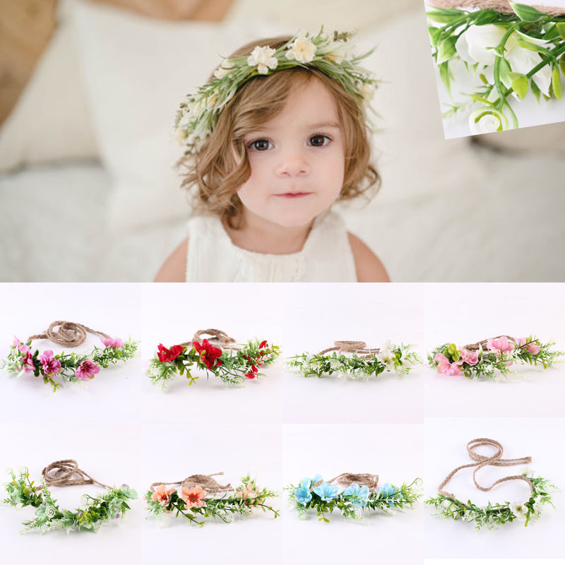 Mom & Kids Wedding Flower Hair Garland Crown Headband Floral Wreath Hairband 2017 new spring flower crown hairband bridal wedding hair accessories rose floral wreath for kids head tiara garland