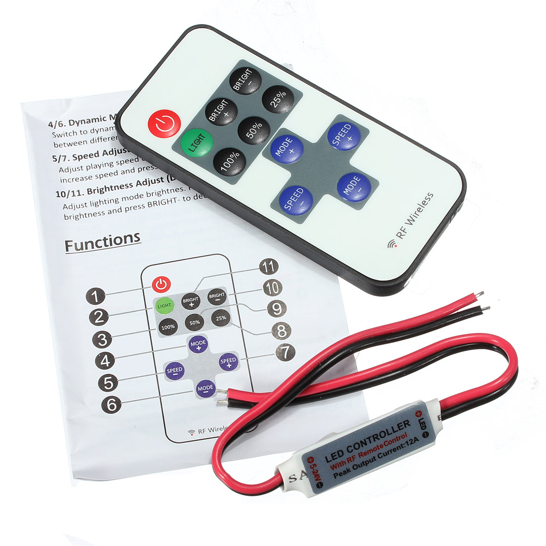 LED Dimmer 12V RF Wireless Remote Switch Controller for Mini Single LED Strip Light