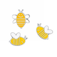 5PCS/LOT Metal Cute Cartoon Bees Brooch with Pin Icon Badge with Pin Backpack Decoration Safety For Clothes Badges(China)