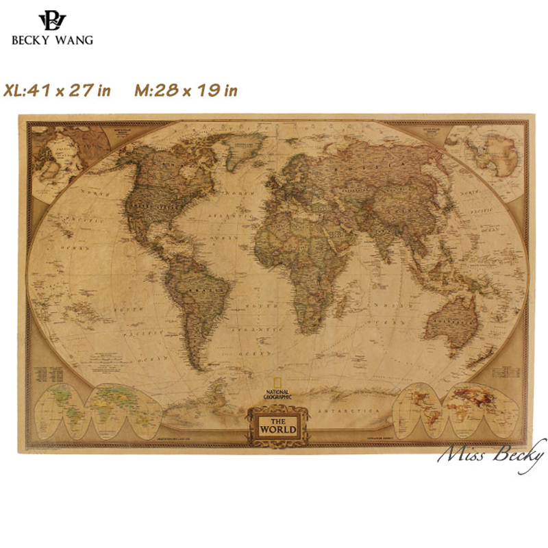 New Vintage World Map Travel Home Decoration Detailed Antique Poster Wall Chart Retro Paper Matte Kraft Paper Map World Poster creative statue of liberty pattern kraft paper poster wall sticker for home decoration