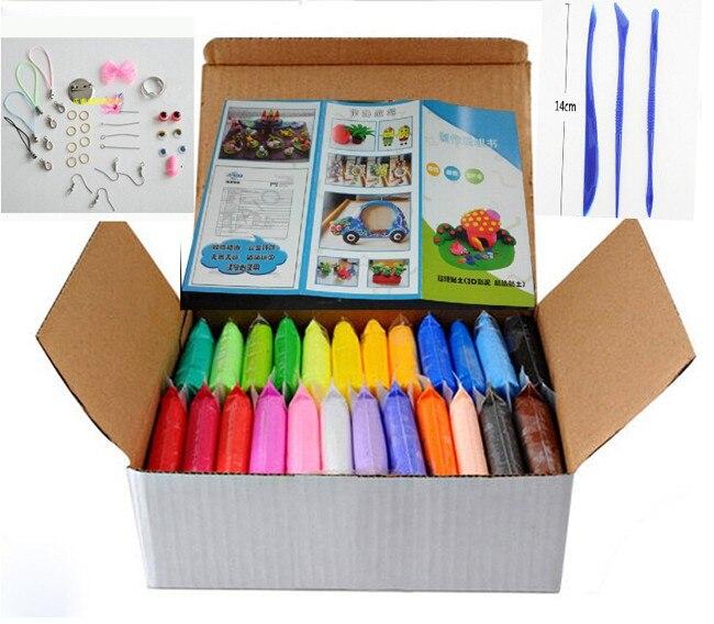 Nuevo 24 colores 24 unids/set arcilla de modelado de polímero suave con herramientas buen paquete juguetes especiales DIY arcilla polimérica plastilina.