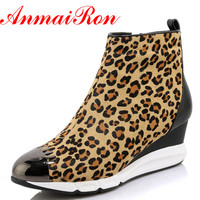 ANMAIRON New Ankle Boots For Women High Heels Wedges Shoes Woman Sexy Leopard Platform Winter Boots