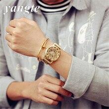 YANGTE Hot Sale Classic Retro Gold Skeleton Quartz Watch Full Steel Men Women Girl Boy Luxury Wristwatch Relogio Masculino AB734