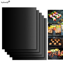1pc ao ar livre churrasqueira esteira de cozimento de silicone preto reutilizável antiaderente folha bandeja forno cozinhar piquenique churrasco esteira ferramenta da