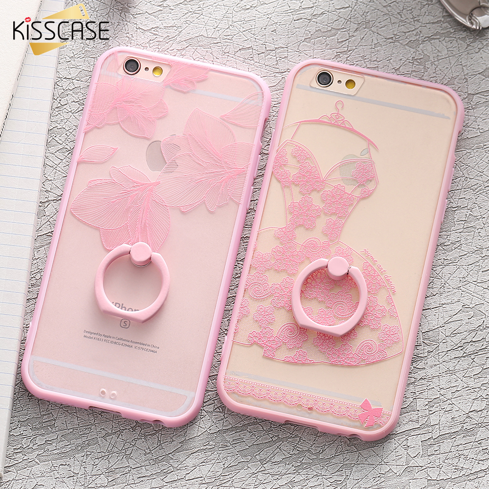 KISSCASE Ring Phone Case For iPhone 6 6s Plus Cases Girly Cover Coque Cases For iPhone 6s 6 Plus Floral Lace Stand Holder Fundas