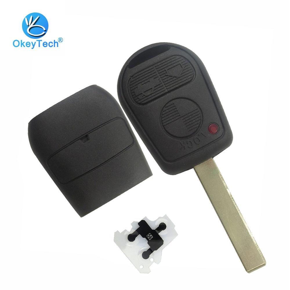 OkeyTech pour Bmw clé Shell 3 bouton non coupé blanc HU92 lame Auto télécommande voiture clé Fob boîtier de couverture pour BMW E31 E32 E36 E38 39