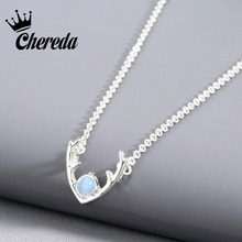 Chereda Alloy Cute Animal Pendant Necklace Silver Gold Color Deer Shape Blue White Rhinestone Jewelry For Women Luxury