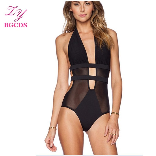 85cc75071e Swimwear Women One Piece Swimsuit Backless Monokini Sexy Swimming Suit for Women  Swim Bathing Suit Mesh Summer Halter Beach Wear
