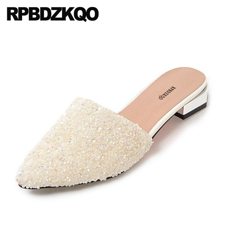 Chinese Wedding Shoes Flats Crystal Rhinestone Slippers 11 Sandals Pointy Sequin Large Size Silver Mules Women Glitter White blue sequin large size gold pointy ballerina sparkling women chinese wedding shoes flats bow party ballet 10 glitter loafers