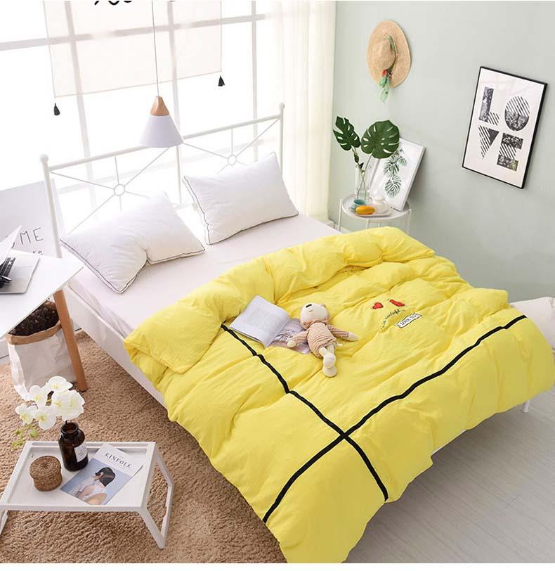Tienda Online Color sólido amarillo rosa 1 Unids funda de Edredón De ...