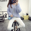 2016 Winter Women Sweater Fashion Computer Knitted Long Sleeves Pullovers Solid V-Neck Sweaters Comfortable Pull Femme SZQ009