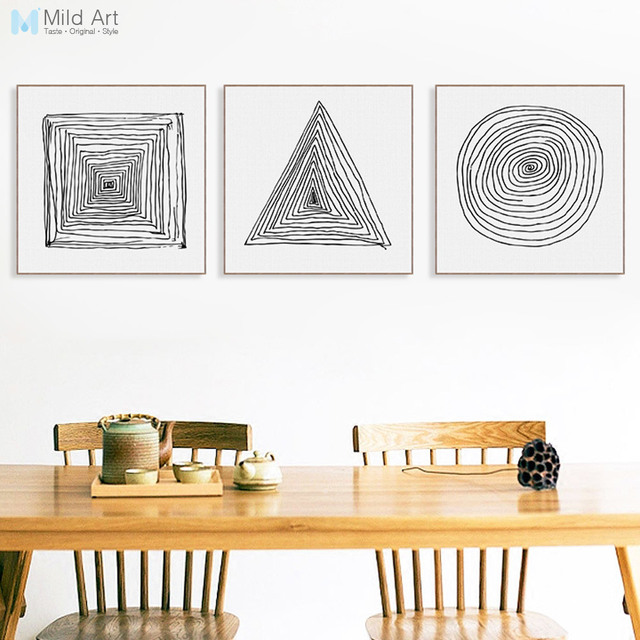Minimalist abstract black and white geometry lines zen poster print nordic wall art pictures canvas painting