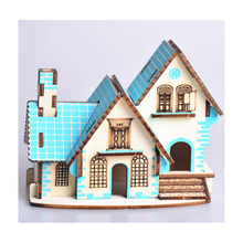DIY Model toys 3D Wooden Puzzle blue dream cottage Wooden Kits Educational Puzzle Game Assembling Toys Gift for Kids Adult P4 цены онлайн