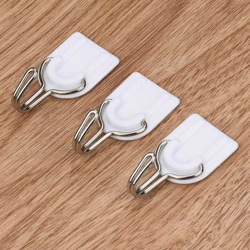 6pcs/lot Strong Curtain Holder Adhesive Hook Wall Door Sticky Hanger Holder Kitchen Bathroom White Strong sticky hook&17